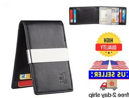 minimalist slim leather wallet money clip credit