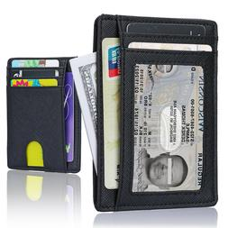 Minimalist Slim Leather Wallet Money Clip Holds 6 Cards, and