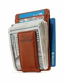 Money Card Clip Magnetic Leather Wallets For Men Slim Front