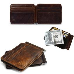 Money Clip  Front Pocket Minimalist Genuine Leather Mens Vin