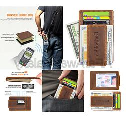 Garigolden Money Clip, Leather RFID Blocking Wallet for Men
