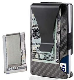 Money Clip, Metal Carbon Fiber Card Holder For Men Slim Ligh