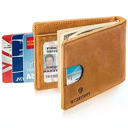 Protectif Money Clip - RFID Blocking Genuine Leather Wallet
