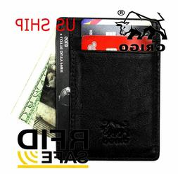 Money Clip RFID Front Pocket Minimalist Genuine Leather Mens