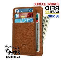 Money Clip RFID Front Pocket Minimalist Genuine Tan Leather