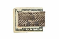 Multi-Color Brown Genuine Python Skin Magnetic Money Clip MA