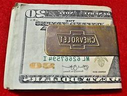 "New Chevrolet Solid Brass Money Clip 2 1/8"" x 1"" Vintage Loo"