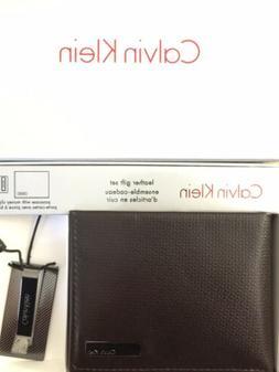 0fa999de8 NEW Calvin Klein Double Billfold Brown Wallet with Money Cli