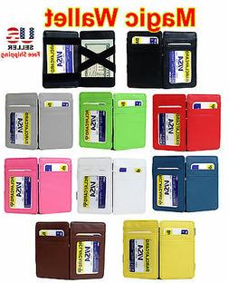 NEW MAGIC WALLET MONEY CLIP LEATHER CREDIT CARD HOLDER w ID