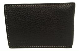 New Men's Fossil 'Lincoln' Black Leather Bifold Card Case wi