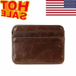 New Money Clip Front Pocket Minimalist Genuine Leather Mens