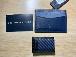 New Tommy Hilfiger navy leather Card Case and Money Clip