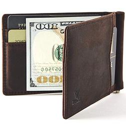 YBONNE New Slim Wallet with Money Clip Finest Genuine Leathe