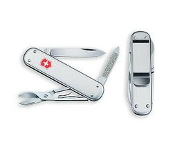 NEW VICTORINOX SWISS ARMY MONEY CLIP SILVER ALOX POCKET KNIF