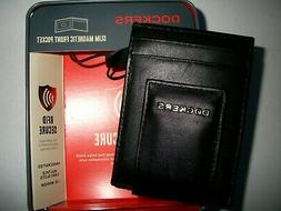 NIB Dockers Men's Slim Magnetic Money Bill Clip Black Leathe