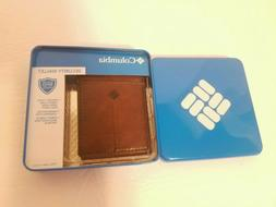 NIB Columbia Security Leather Magnetic Money Clip Brown Wall