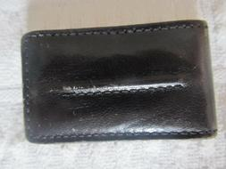 DOCKERS Nice Genuine Black Leather Magnetic Money Bill Clip