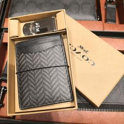 NWT Coach 3 in 1 Herringbone Money Clip Card Case Gift Set F