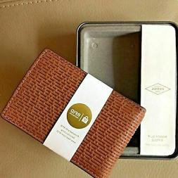 NWT Fossil Coby Money Clip Wallet Cognac Brown Leather