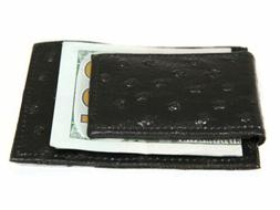 Ostrich Embossed Leather Slim Magnetic Money Clip 3 Credit C