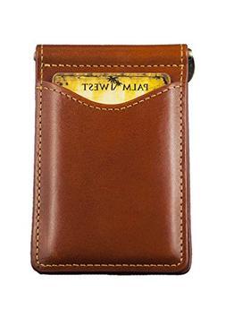 Palm West 225RFID-C Mens Premium Leather, Minimalist Money C