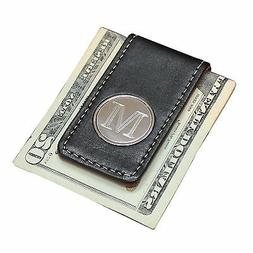 Personalized Engraved Money Clip with Black and Brown Leathe