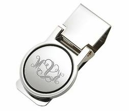 PERSONALIZED SILVER CIRCLE HINGED MONEY CLIP CUSTOM ENGRAVED