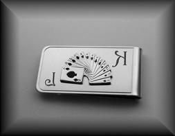 PERSONALIZED SILVER POKER CARDS MONEY CLIP CUSTOM ENGRAVED F