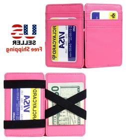 PINK LEATHER MAGIC WALLET CREDIT CARD HOLDER MONEY CLIP with