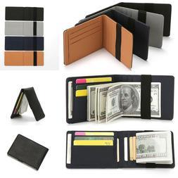 PU Wallet Elastic Money Clip Back Pocket Men Mutil ID Credit