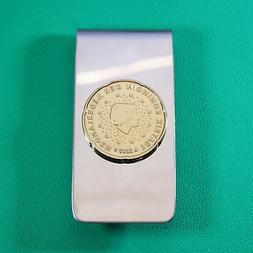 Queen Beatrix Coin Money Clip, Nordic Gold 20 Euro Cents, Ne