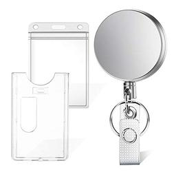 Selizo Retractable Badge Holder with Keychain Ring Clip Meta