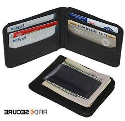 RFID BLOCKING BLACK MENS LEATHER MAGNETIC MONEY CLIP Bifold