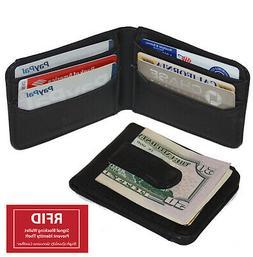 RFID Blocking Black Money Clip Bifold Wallet Front Pocket Cr