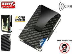 RFID Blocking Carbon Fiber Credit Card Holder Slim Money Cli