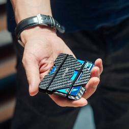 RFID Blocking Metal Wallet Slim Ridged Edge Minimalist ID Ca