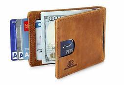 RFID Blocking Slim Genuine Leather Front Pocket Wallets for