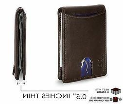 SERMAN BRANDS - RFID Blocking Slim Genuine Leather Wallet fo
