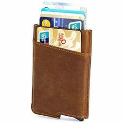 RFID Blocking Slim Money Clip Aluminum Wallet Automatic Pop-