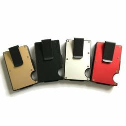 RFID Blocking Slim Ridged Edge ID Card Holder Wallet with Mo