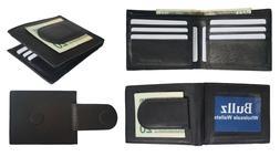 RFID Leather Bifold Slim Card Holder Front Pocket Black Men'