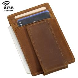 RFID Mens Leather Magnet Money Clip Slim Wallet ID Credit Ca