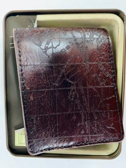 Patricia Nash RFID Mens Leather Map w/Money Clip Billfold Wa