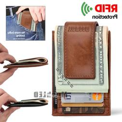 RFID Mens Leather Money Clip Slim Front Pocket Magnetic ID C