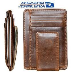 rfid mens leather money clip slim front