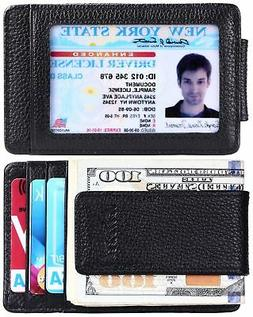 Kinzd RFID Mens Leather Wallet Slim Magnet Money Clip Credit
