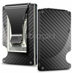 RFID Mens Wallet Blocking Carbon Fiber Minimalist Ridge Mone