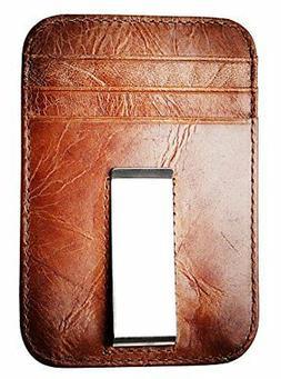 RFID Pocket Wallet Lightweight,Slim Genuine Leather Front, M
