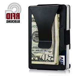 ITALL RFID Wallet Money Clip Case,Minimalist Black Business