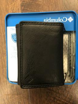 Columbia Security Wallet Built In RFID Shield Black Leather